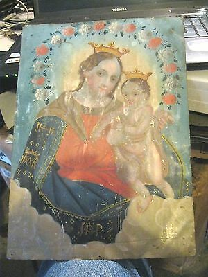 Original Antique Retablo On Tin With Image Of Our Lady Of Refuge 10'' By 14 ''''