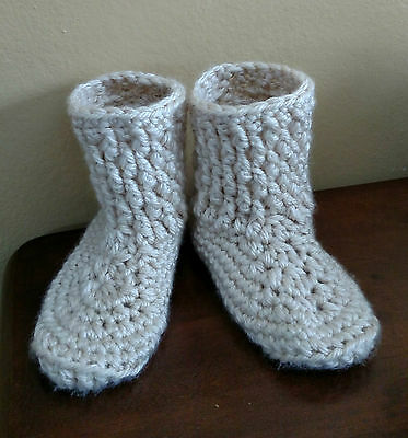 Ladies Hand Crocheted House Slippers.Acrylic Yarn. Cream Color 7-8 with Stretch.