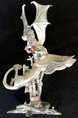 """Heavy Solid Pewter Mid Size 8 1/4 """" Statue  Figurine Dragon & Griffon"""