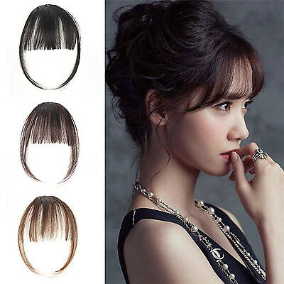 WOW Women Straight Clip in Front Neat Bangs Nature Fringe Human Hair Extension
