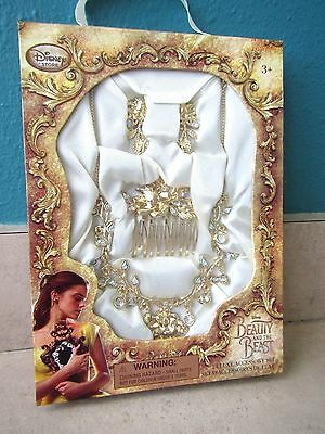 New Disney Beauty And The Beast Belle Deluxe Accessory Set Kids Jewelry Necklace