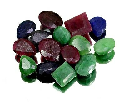 145ct / 15pcs Natural Emerald Ruby Sapphire UK Ring Size Gemstone Wholesale Lot