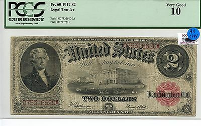 $2 Dollar 1917 Legal Tender US PCGS Very Good 10 Large Size Note AA0344