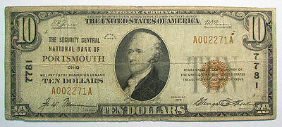 1929 Security Central National Bank Of Portsmouth, Ohio Charter 7781 $10 T1 G-Vg