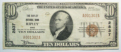 1929 The Ripley National Bank Of Ripley, Ohio Charter 2837 $10 T1 F