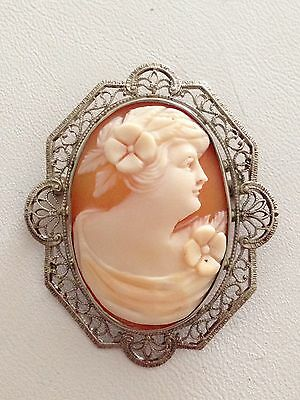 Antique Vintage Silver Tone Filigree Carved Shell Cameo Brooch