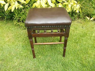 Victorian Edwardian Turned Stool Piano? New Leather