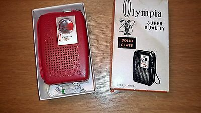 Vintage Red Olympia portable transistor AM radio with magnetic earphone in Box