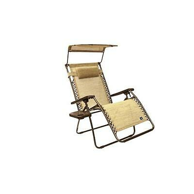 Bliss Hammocks Deluxe XL Gravity Chair Free Recliner With Canopy & Tray - Sand