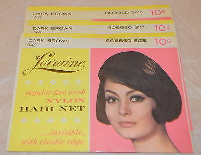 Vintage Lorraine Hair Net Bobbed Size Dark Brown # 207 Lot of 3