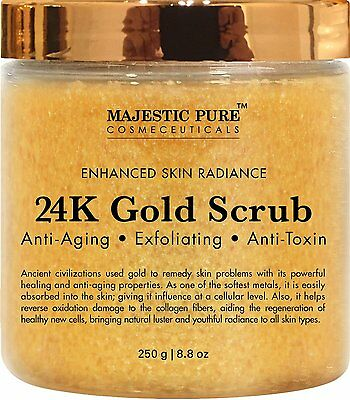 24K Gold Body Scrub And Facial Scrub From Majestic Pure, 8.8 Oz Ancient Anti