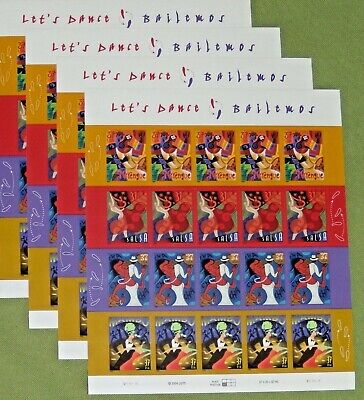 Four Sheets x 20 = 80 LET'S DANCE BAILEMOS 37¢ US PS Postage Stamps. # 3939-3942