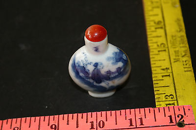 Chinese Porcelain Blue and White Snuff Bottle man standing next to river