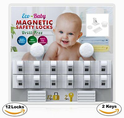 Baby Child Proof Cabinet Drawers Magnetic Safety Locks Set of 12 with 2 Keys