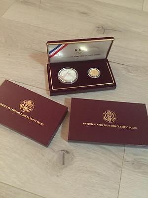 1988 Olympic 2pc $5 Gold & $1 Silver Proof Dollar Coin Set US Mint Commemorative
