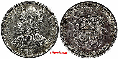 PANAMA Silver 1904 5 Centesimos XF Condition Toned KM# 2