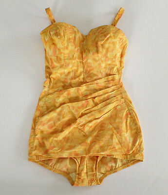 Vintage 50's Swimsuit Bathing Suit Pinup Removable Straps Convertible Strapless