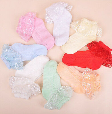 Girls Lace Frilly Christening Socks in White Pink Blue Yellow Orange Green 1-8 Y