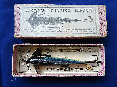 A Super Vintage Boxed And Carded Brown's Phantom Minnow Lure