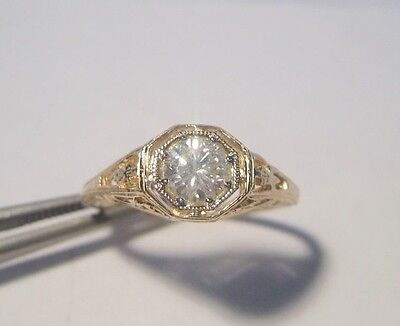Enhanced 0.46CT Round Solitaire Art Deco Engagement Ring