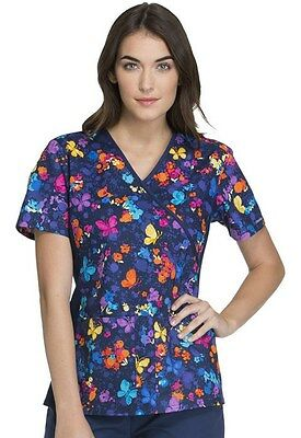 Flexibles by Cherokee Women's Mock Wrap Floral Print Scrub Top 2988C-FLSR