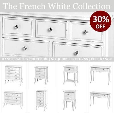 Shabby Chic French Country Bedroom Furniture, Chest of Drawers, Bedside Tables