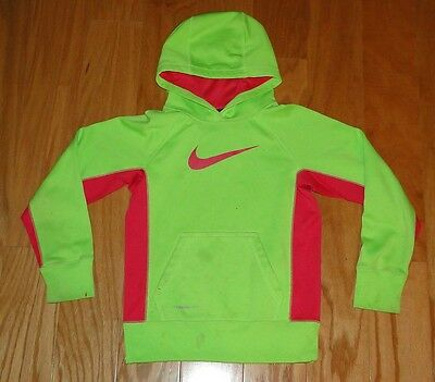 Nike Therma Fit Logo Pullover Hoodie Size Small Neon Yellow Pink Stained Girls