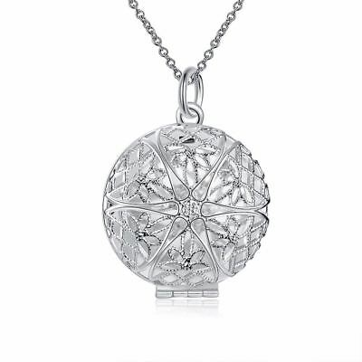 OVAL DAISY BLOSSOM 925 Silver PLT Photo Charm Pendant Chain Necklace With Chain
