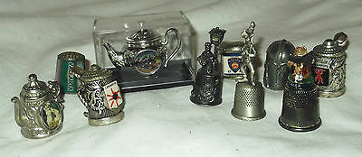 Wonderful Pewter & Other Thimbles.  Pluto, Jeremy Fisher, NYPD, Hants Rail Etc..