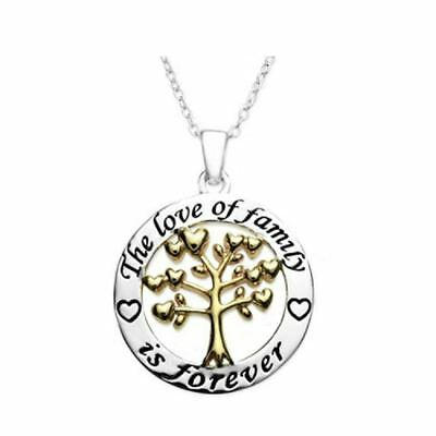 925 Silver Plt 'The Love Of Family Is Forever' Engraved Necklace Tree Heart A