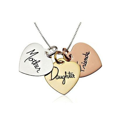 925 Silver Plt 'Mother And Daughter Forever Always Friends' Gold Necklace A