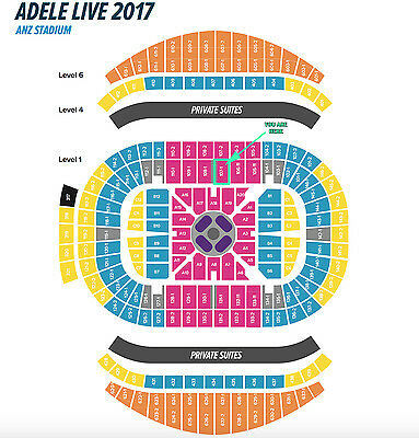 ADELE Sydney - 2 x A Reserve seated tickets (Section 107-1) Sat 11th March 2017