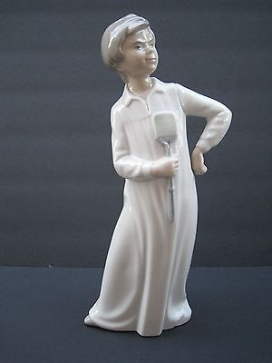 """NAO ''Boy With Fly Swatter'' Figurine 11 1/2"""" Tall, Spain"""