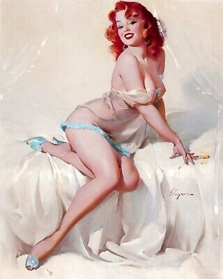 GIL ELVGREN 8x10 PIN-UP GIRL ART MINT PRINT-Wife Neighbor Girlfriend Breasts Red