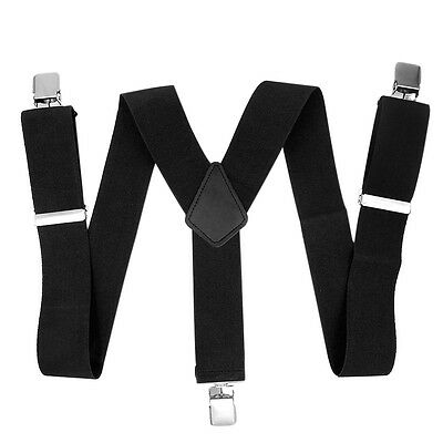 Hot Men Suspenders Soft Y-Back 3 Clips Stretchy Trousers Braces 50mm Adjustable