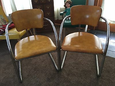 Vtg Lot Pair Mid Century Modern Chrome & Gold Vinyl Chairs