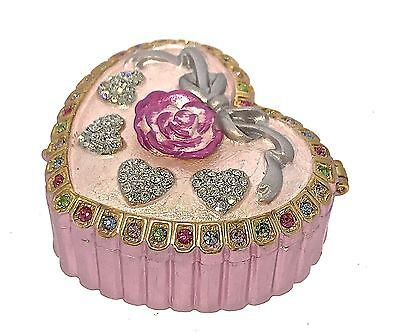 Pink Jewelry Heart Trinket Box Crystal  Enameled Hinged Bejeweled Pill Metal