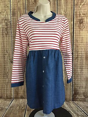 Red White and Blue Women's Striped Maternity Nursing Long Sleeve Blouse Size XL