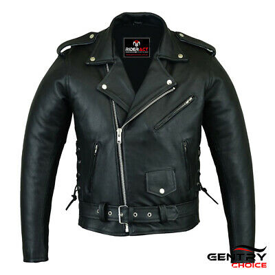 Men's Leather Brando Jacket Motorcycle Scooter Biker Rider Safety Full Features