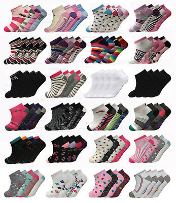 Women's Girls Trainer Socks Liner Ankle Socks 3, 6 or 12 Pairs Pack Ladies Socks