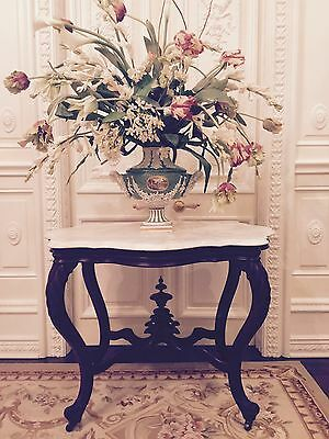 Antique French Victorian Turtle Top Marble Mahogany Foyer Accent Table, Carved