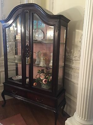 Beautiful Antique French Mahogany Vitrine,  China Cabinet, Highly Carved