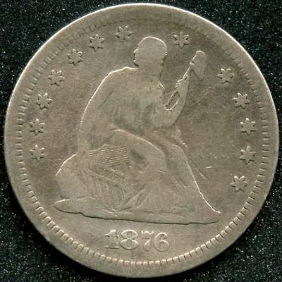 1876-S (Vg) 25C Silver Seated Liberty Quarter