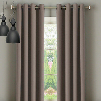 Thermal Insulated Eyelet Curtain Panel Washable Blockout Blackout Brown