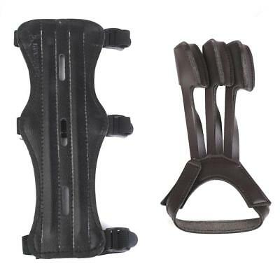 Leather Archery Quick Release 3 Straps Arm Guards & 3-finger Glove Set