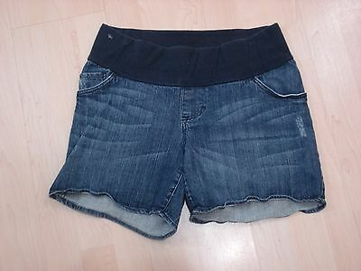 V49 Liz Lange maternity blue denim jean shorts stretch Sz S small distressed