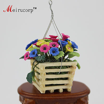 Dollhouse 1:12 Scale Miniature Flowers and Hanging basket 09784