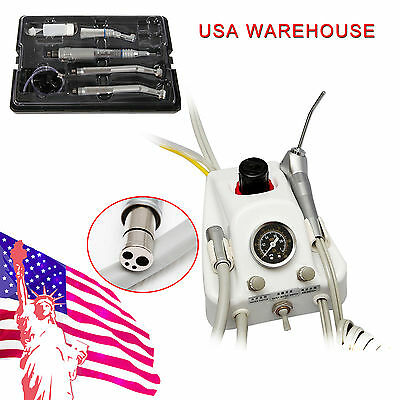 4Holes Dental Portable Turbine Unit +Low &2*High Speed Handpiece Kit f/ NSK US!!