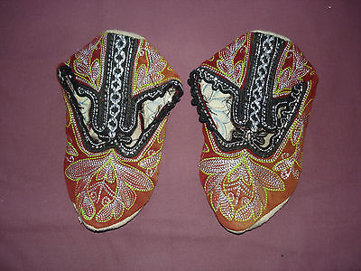 #817  Beautiful Vintage Hand Made House Slippers Small/Medium 9''(22cm)