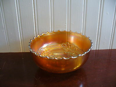 Marigold Carnival Glass Dogwood Motif Round Accent Bowl
